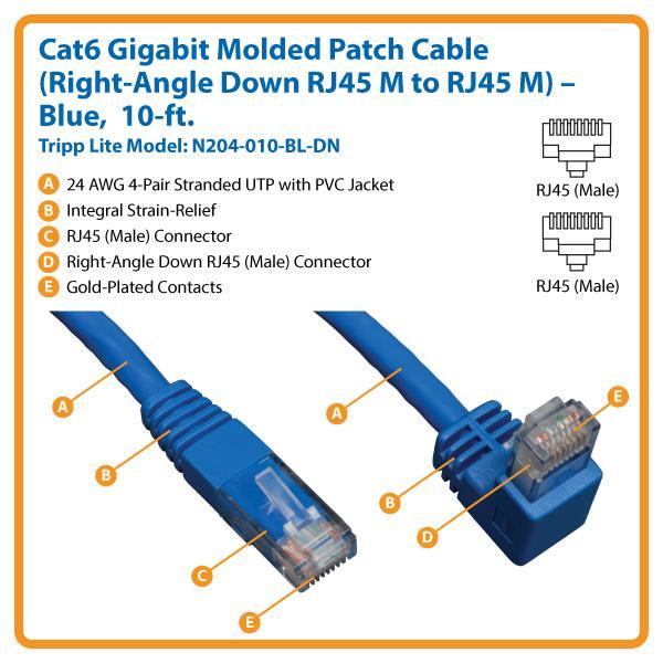 amazon com tripp lite cat6 gigabit molded patch cable rj45 right rh amazon com RJ45 Cable Wiring Diagram RJ45 Wall Jack Wiring Diagram