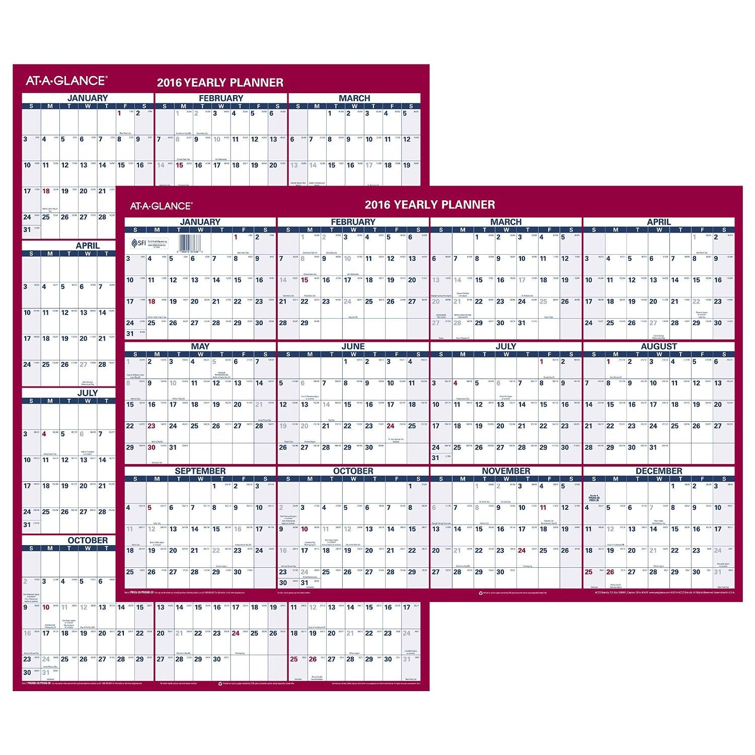 Amazon.com : AT-A-GLANCE Wall Calendar 2016, Erasable, Vertical ...