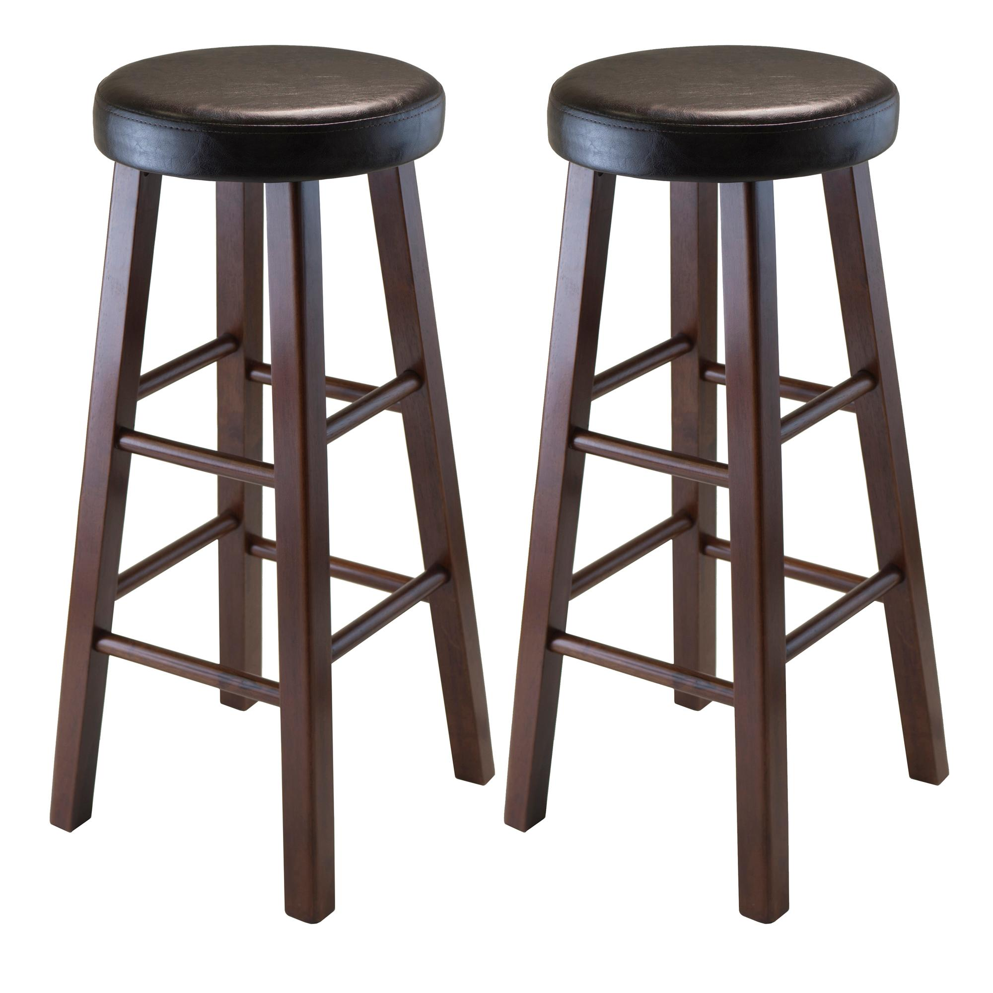 winsome wood marta assembled round bar stool with pu leather cushion seat and square. Black Bedroom Furniture Sets. Home Design Ideas