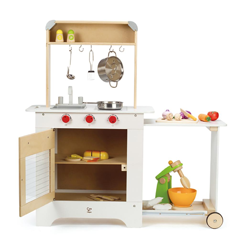 Hape cook n 39 serve wooden kitchen play set for Kitchen set game