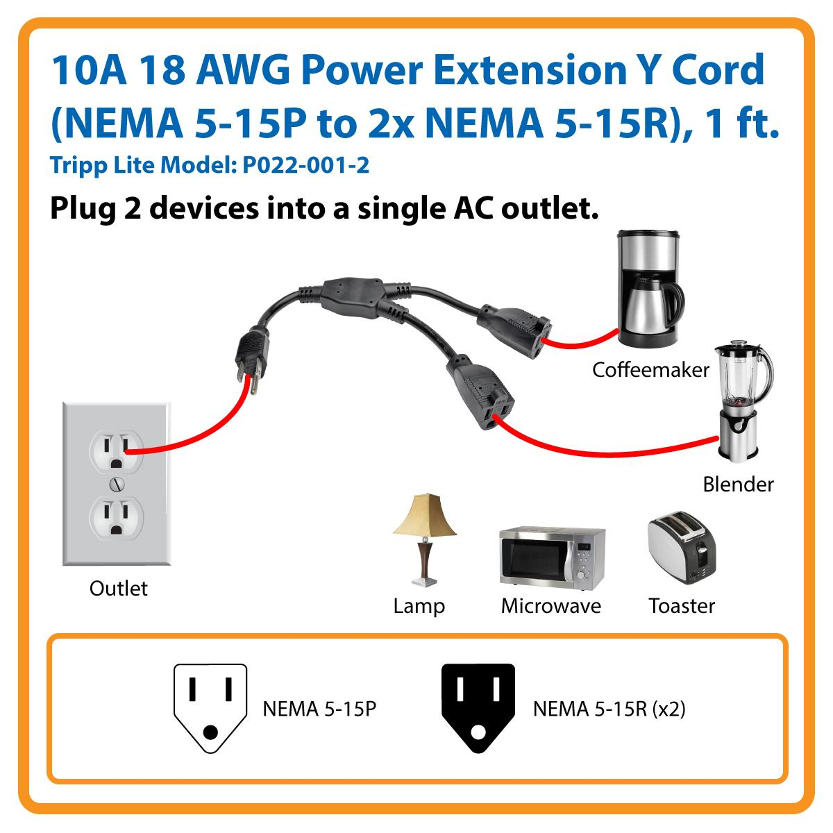 Tripp Lite Standard Power Extension Cord Y Splitter Wiring A 12 Volt Outlet Two Devices Using Only One