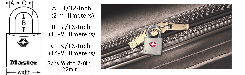 Master Lock 4683Q TSA Accepted Luggage Locks Dimensions Diagram