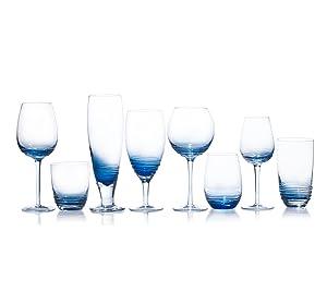 mikasa swirl cobalt glassware, wine glass, highball glass, iced beverage glass, collins glass