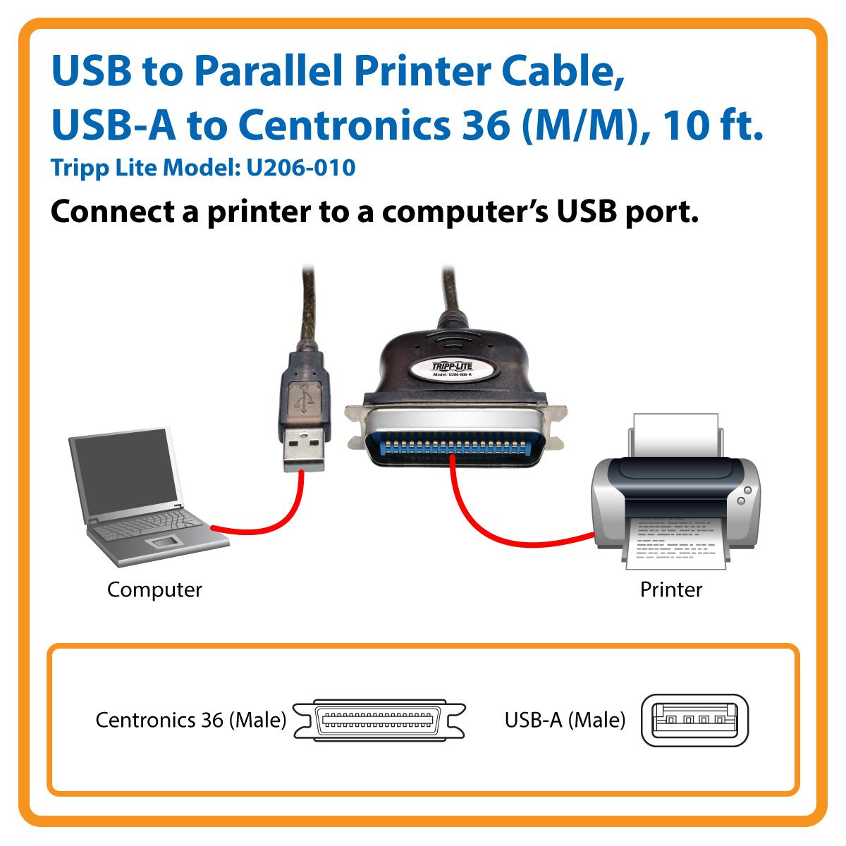 GIGAWARE USB-A TO CENTRONICS PARALLEL PRINTER CABLE DRIVER