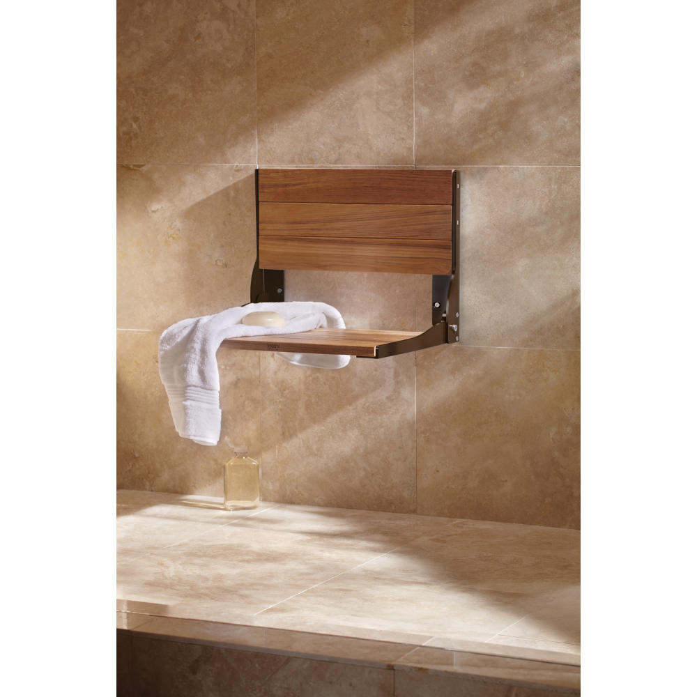 Amazon.com: Moen DN7110OWB Teak Folding Shower Seat, Old World ...