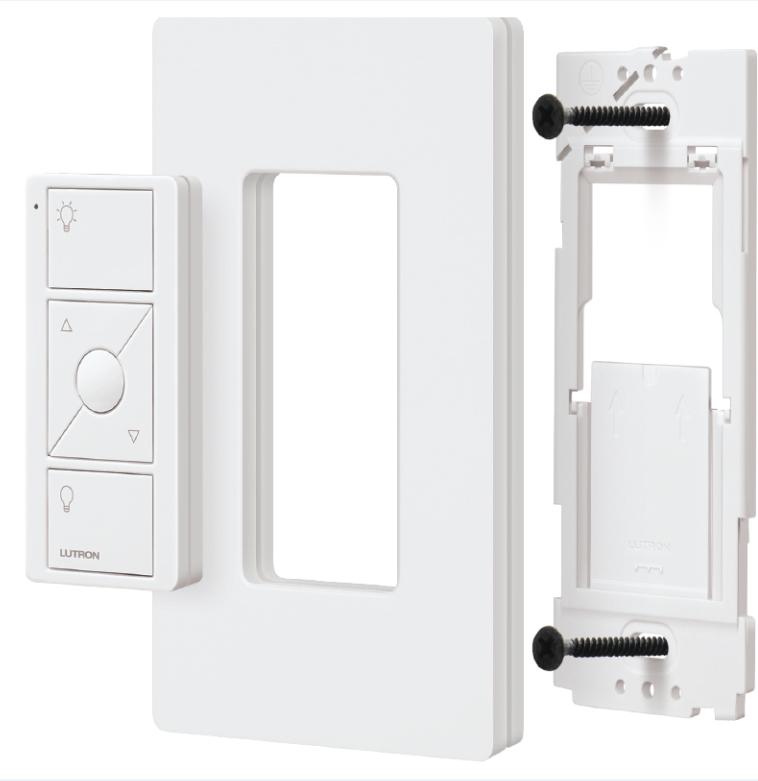 lutron p pkg1p wh caseta wireless 300 watt 100 watt plug in lamp dimmer with pico remote control. Black Bedroom Furniture Sets. Home Design Ideas