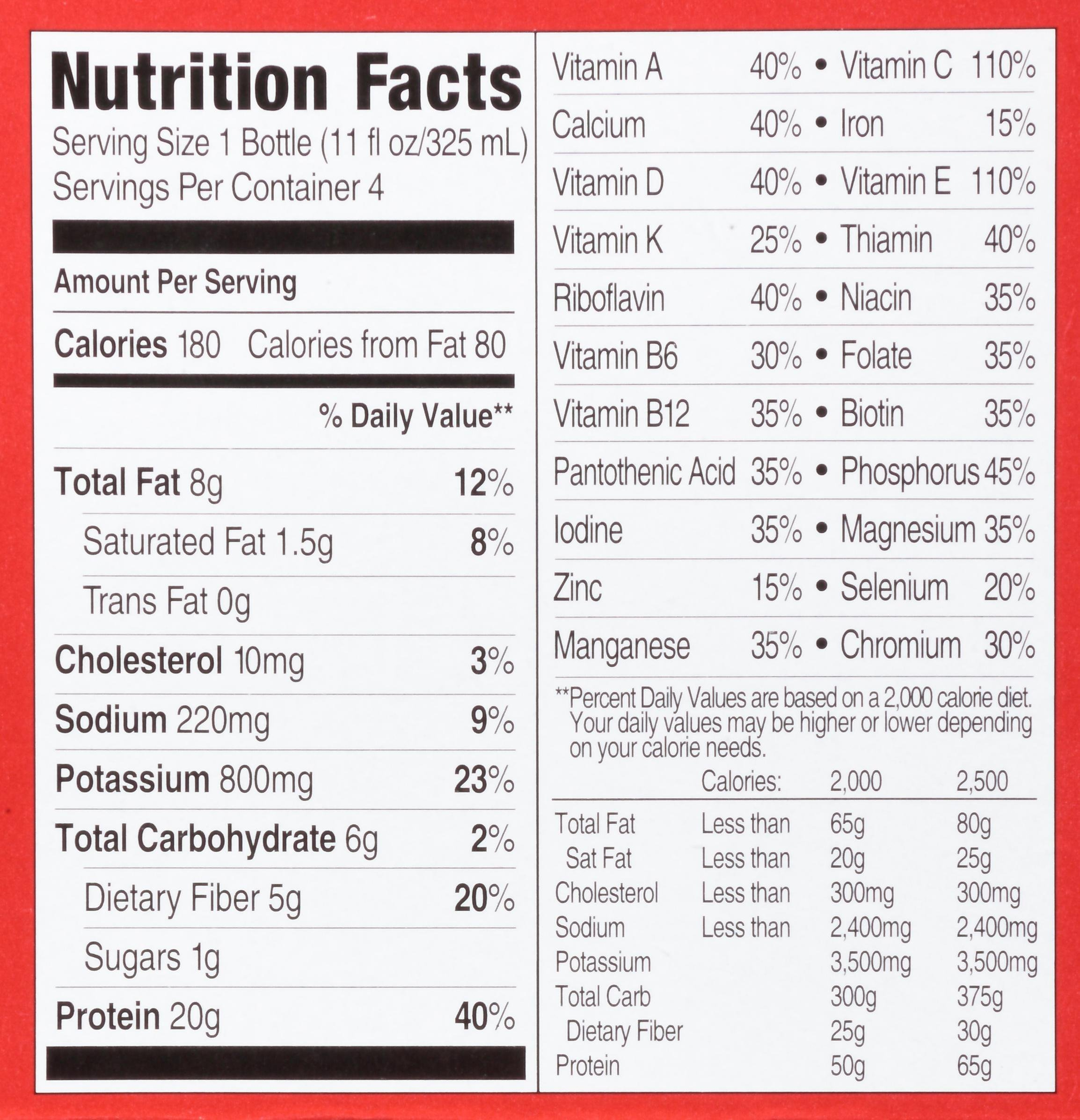 Slim Fast Chocolate Shake Nutrition Facts