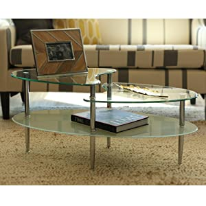 Amazoncom Walker Edison Glass Oval Coffee Table Kitchen Dining - 17 inch high coffee table