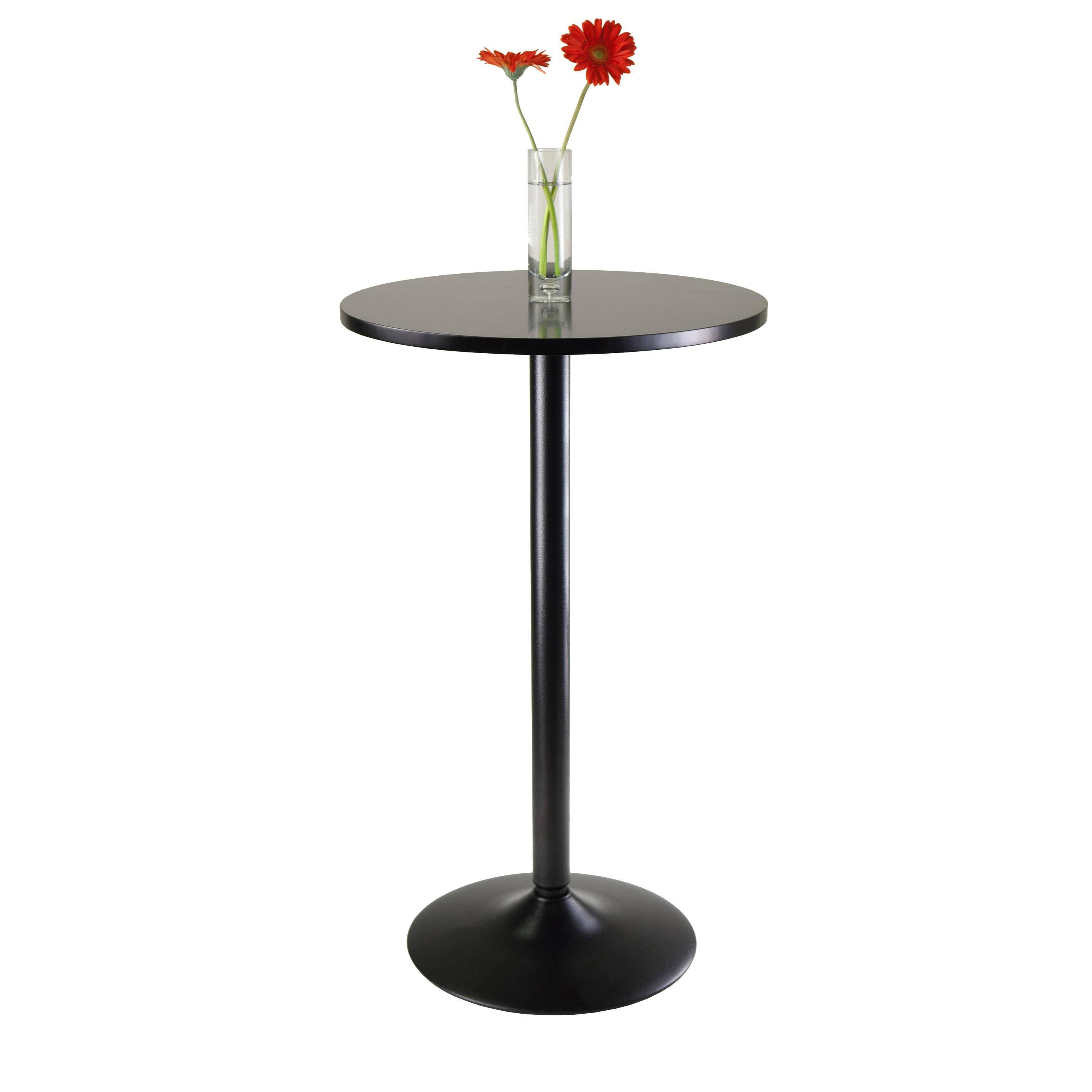 pedestal amazon b and pub with round bar mdf base black tables obsidian com winsome table top leg inch
