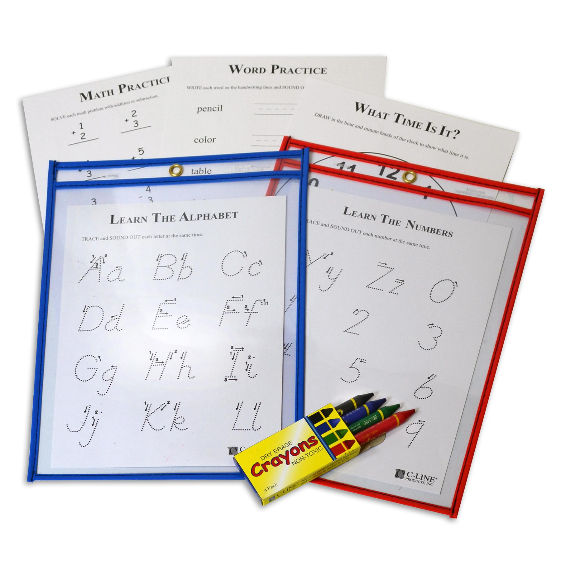 Amazon.com : C-Line Reusable Dry Erase Pockets, 9 x 12