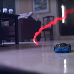 REV Air drone chasing car with special effects showing virtual weapons