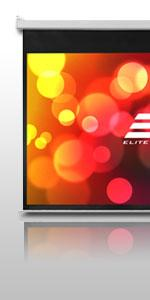 elite screens; manual pull down projector screen; home theater; best projection screens
