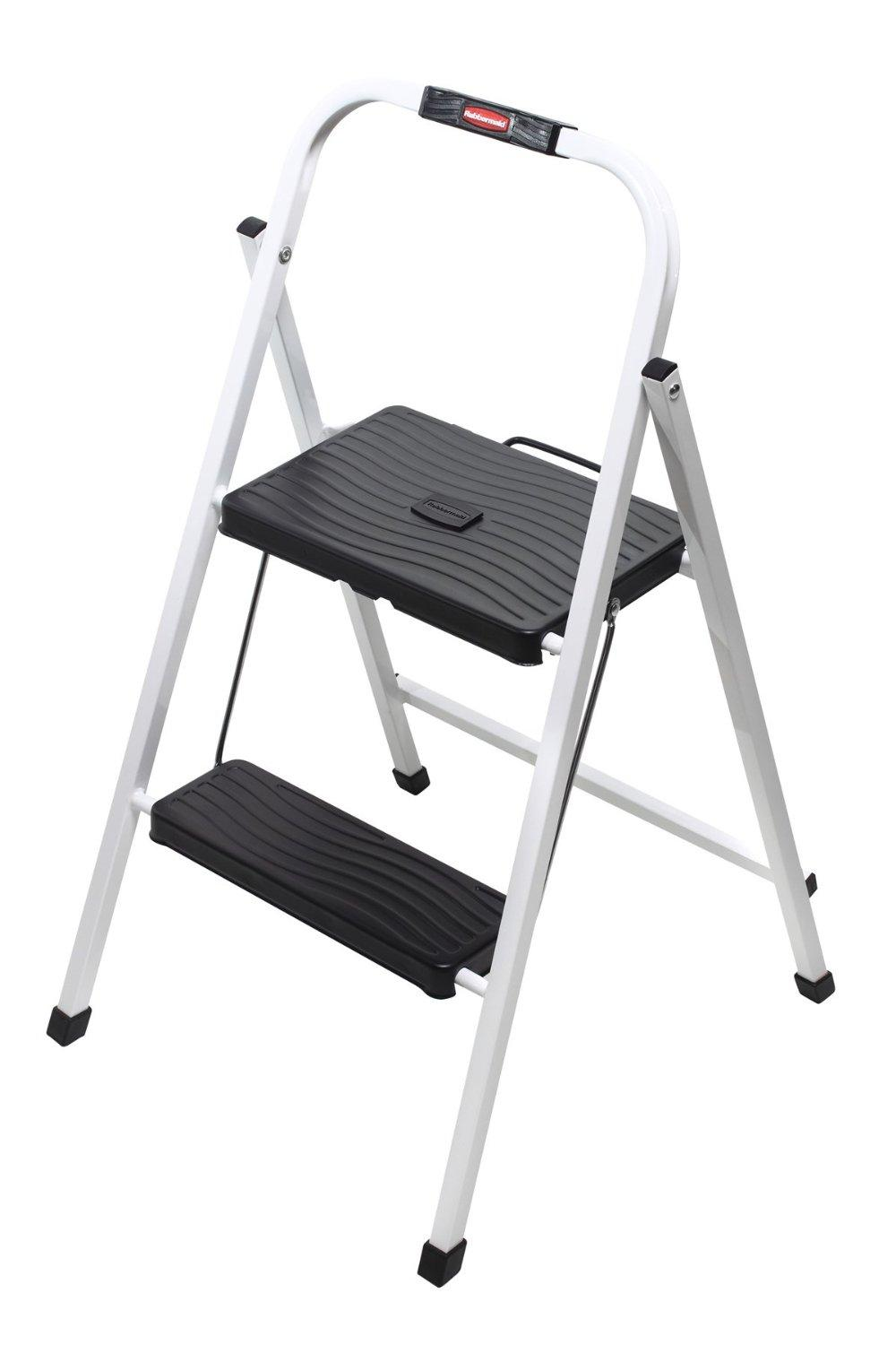 rubbermaid rm hsp2 folding 2 step lightweight steel step stool with hand grip 200. Black Bedroom Furniture Sets. Home Design Ideas