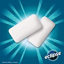 The full line of Eclipse Flavors: two chews of peppermint chewing gum