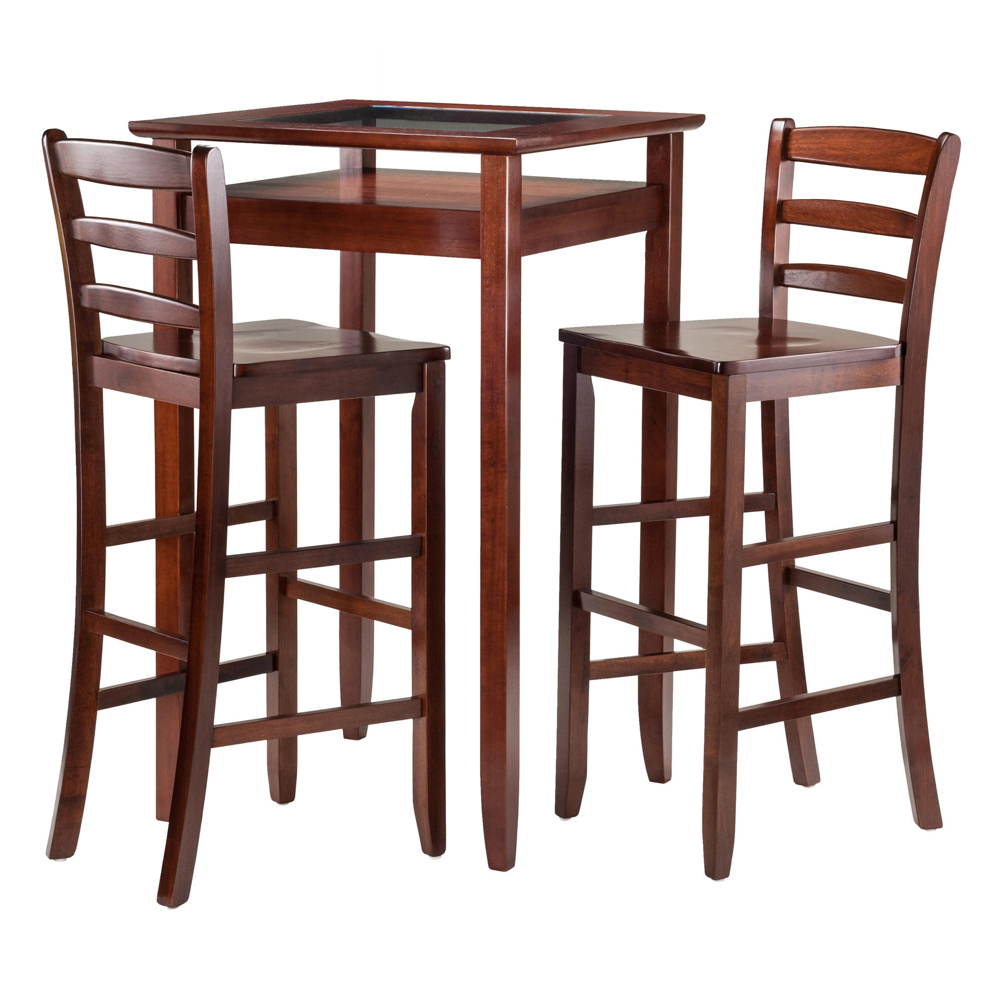 Amazon Winsome Wood Halo 3 Piece Pub Table Set with 2 Ladder