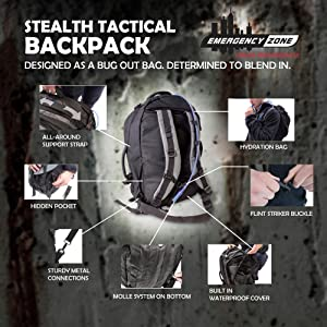 stealth tactical backpack molle duffel urban bug out