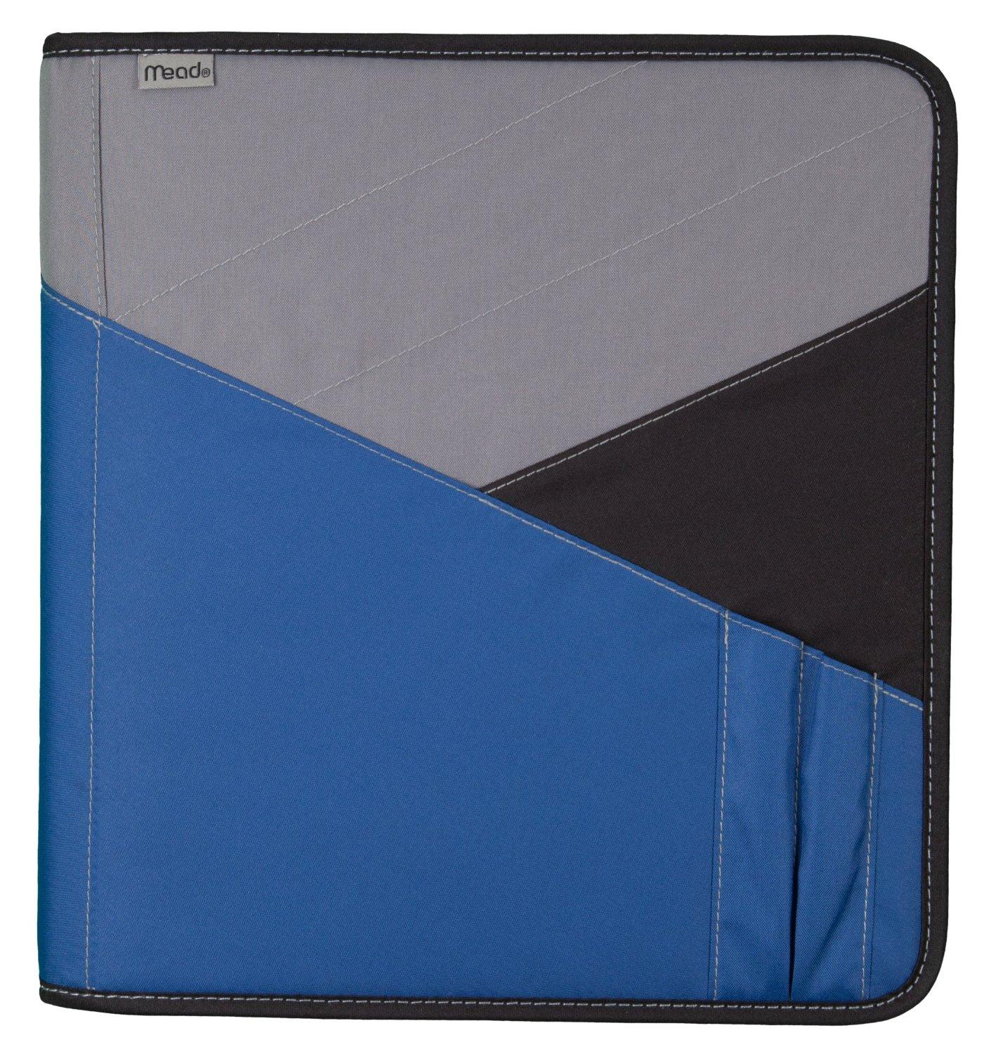 Mead zipper binder with expanding file 3 ring binder 1 1 2 blue 72198 for Trapper keeper 2 sewn binder with exterior storage