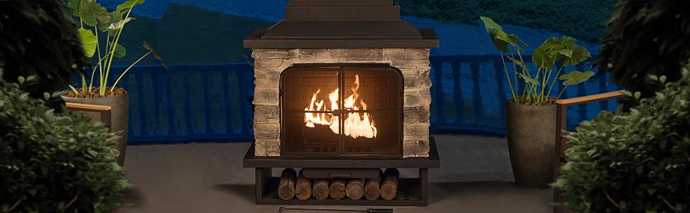 L Of079pst 1 Cultured Stone And Steel 48 Outdoor Fireplace
