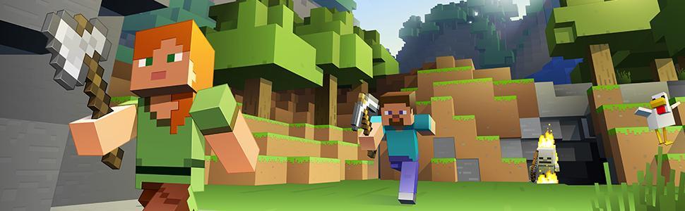 Alex, Steve, pickaxe, axe, duck, friends, adventure