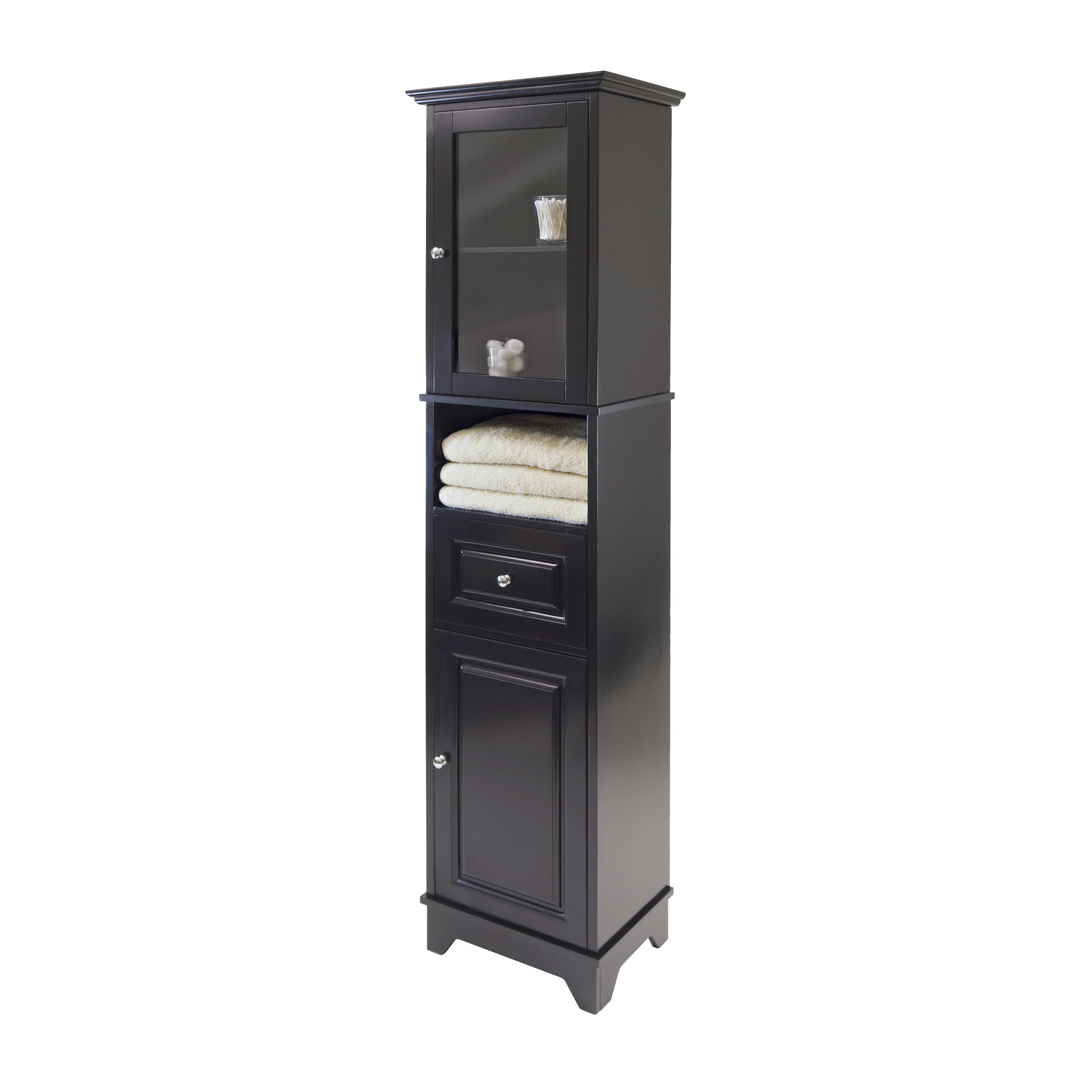 Amazon.com: Winsome Wood Alps Tall Cabinet with Glass Door and ...
