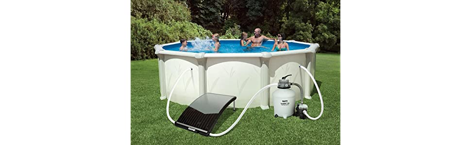 Game 4721 solarpro curve solar pool heater for intex bestway above ground and in for Swimming pool solar heaters amazon