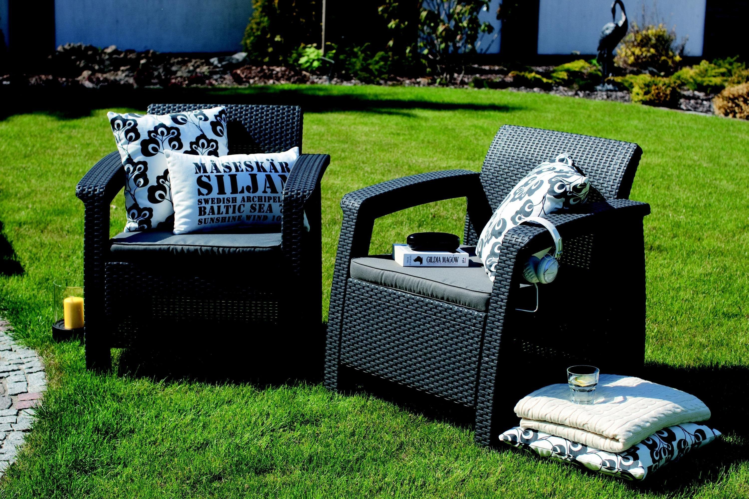 Amazon.com : Keter Corfu 4 Piece Set All Weather Outdoor Patio Garden Furniture W/ Cushions
