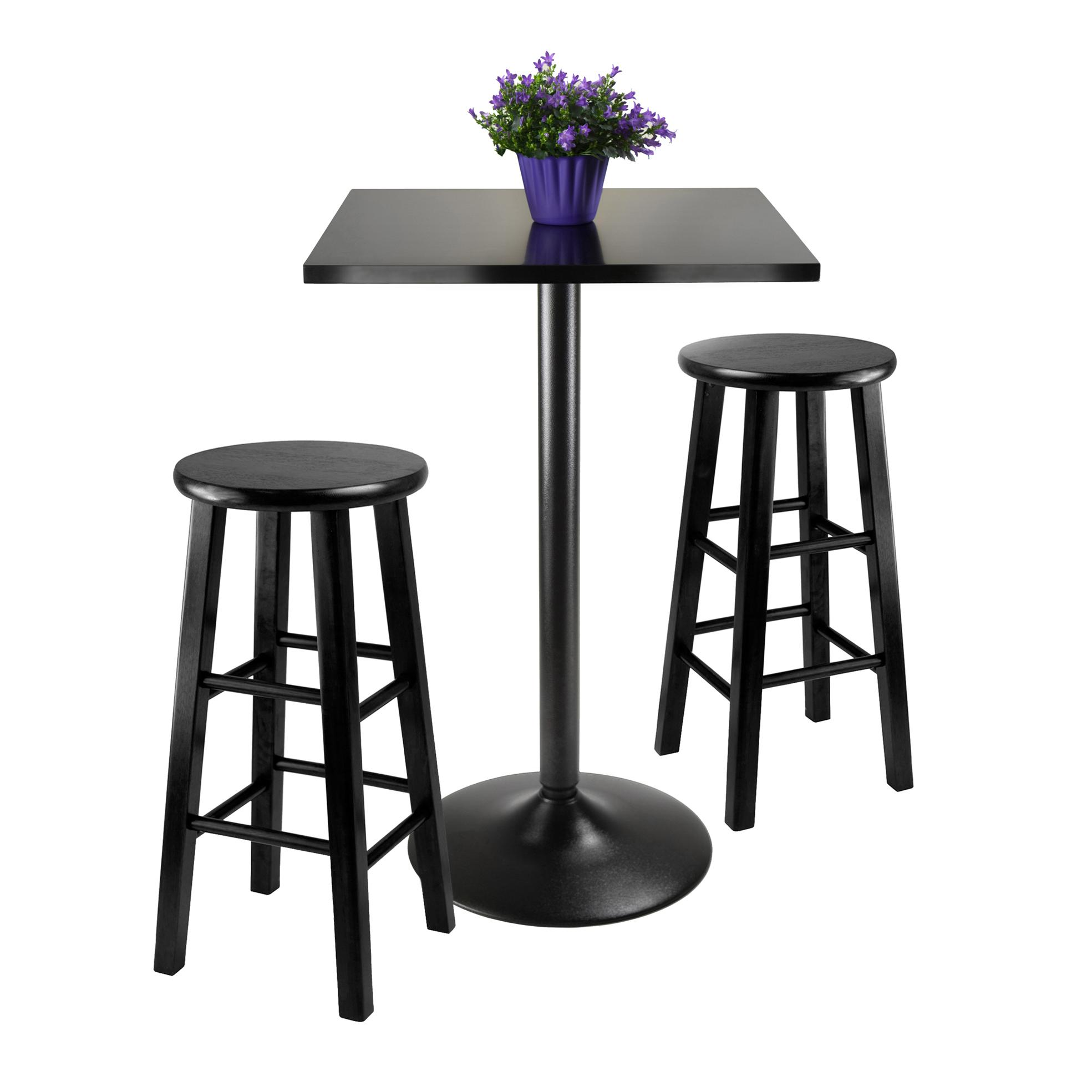 3 Piece Pub Table Set Bar Stool Counter Height Bistro Kitchen Dining Chair Round