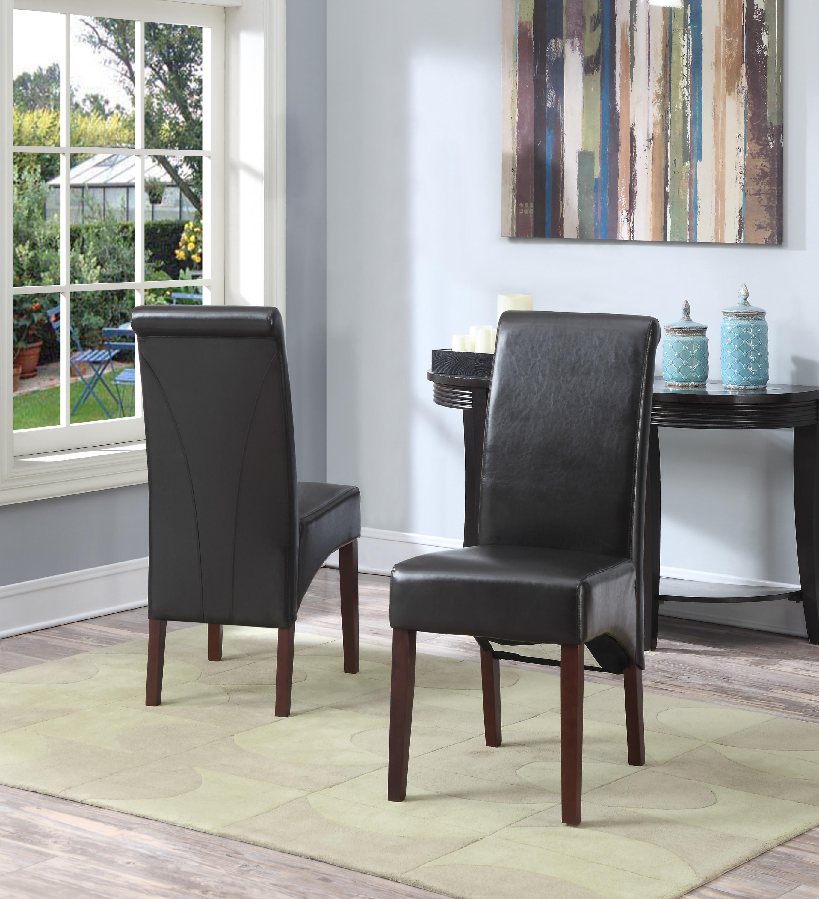 Amazoncom Simpli Home Avalon Faux Leather Deluxe Parson Chairs