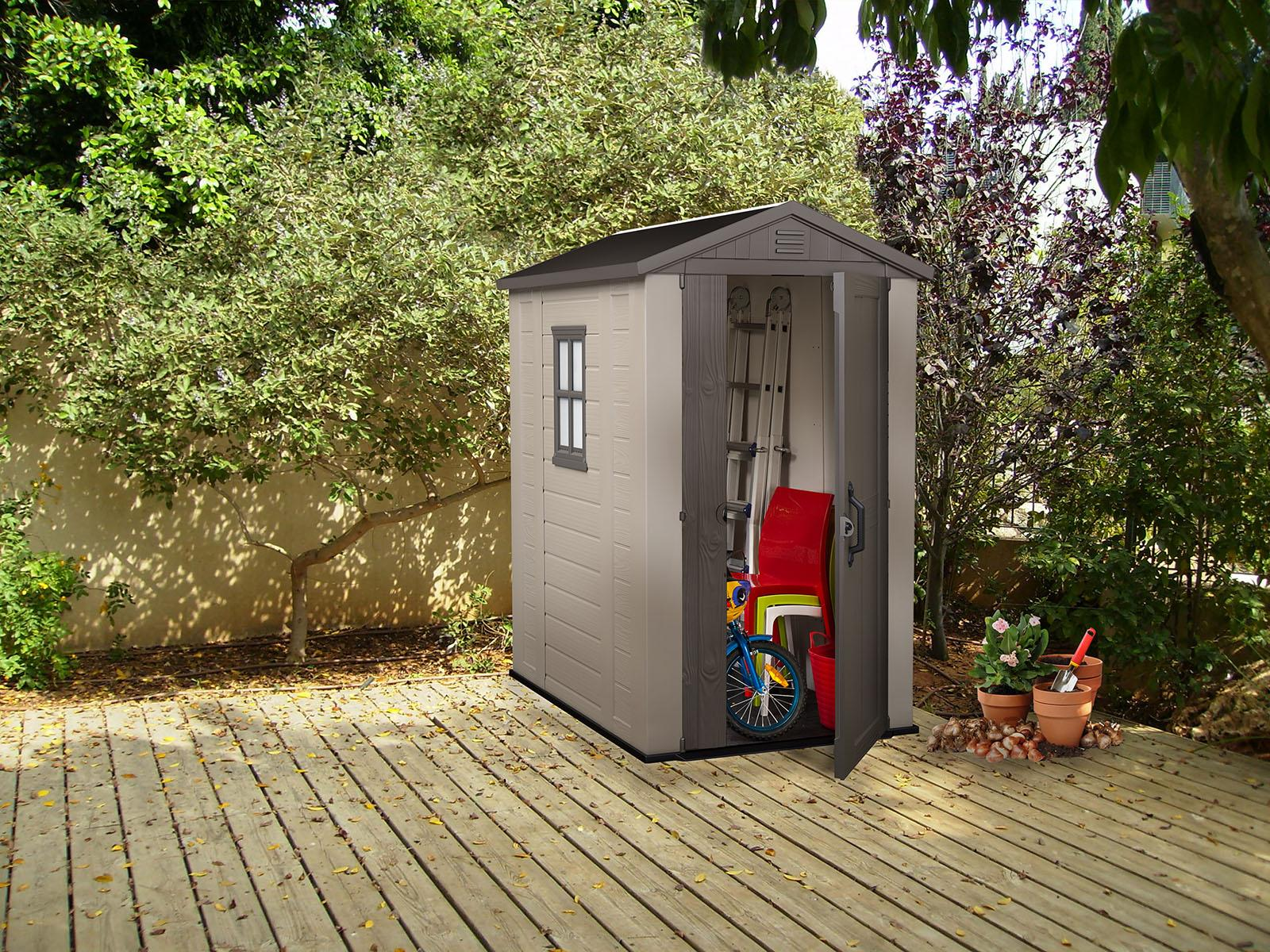 Keter factor large 4 x 6 ft resin outdoor for Resin garden shed
