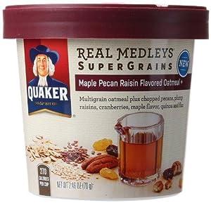 Quaker real medleys supergrains maple pecan raisin instant oatmeal cups