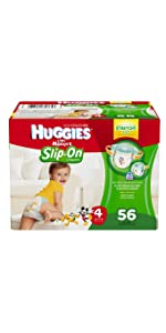 Huggies Little Movers Slip On diapers are designed for standing babies and offer a long lasting fit.