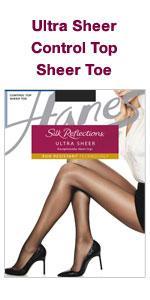 4c7ffa416 Hanes Silk Reflections Women s Ultra Sheer Run Resist Control Top at ...