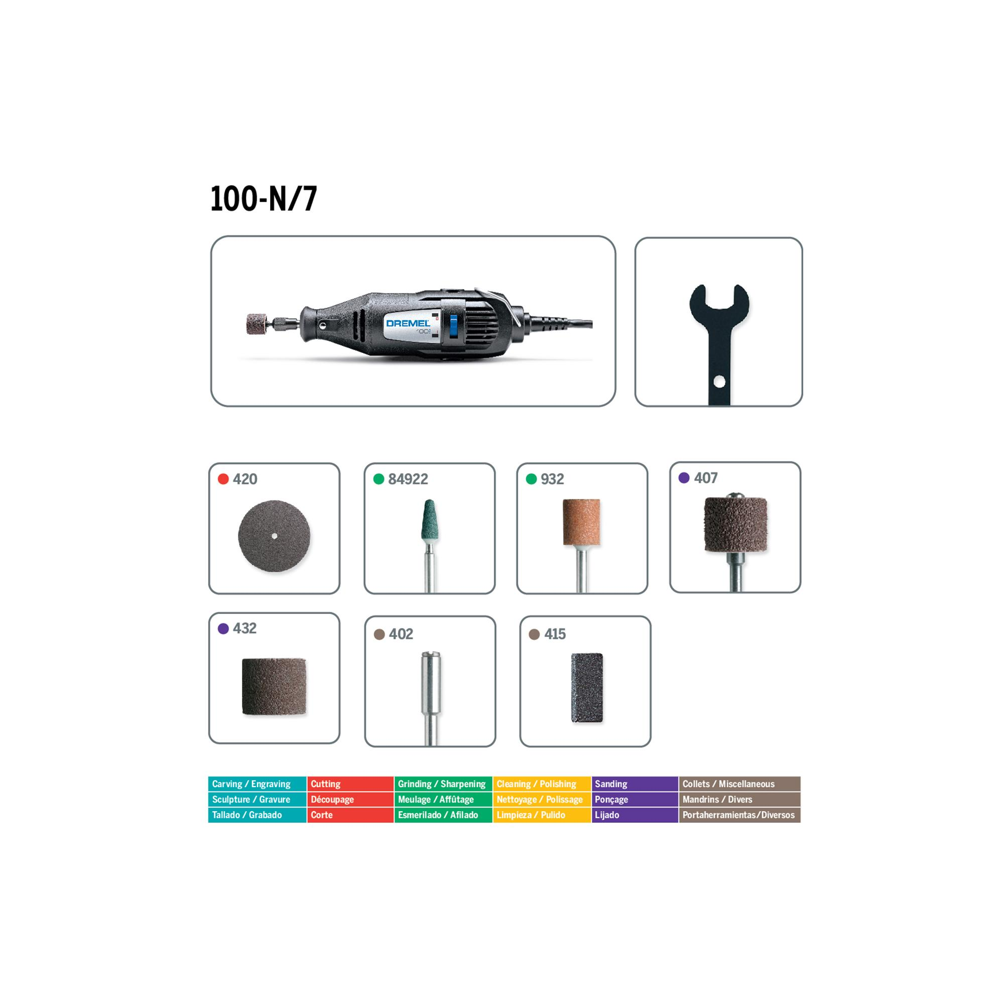 Dremel 100 N 7 Single Speed Rotary Tool Kit With Accessories Wiring Diagram Whats In The Box