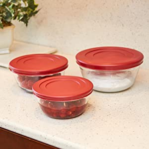 anchor hocking; glass; glassware; mixing bowl set; mix; prep; transport; lids; spill free