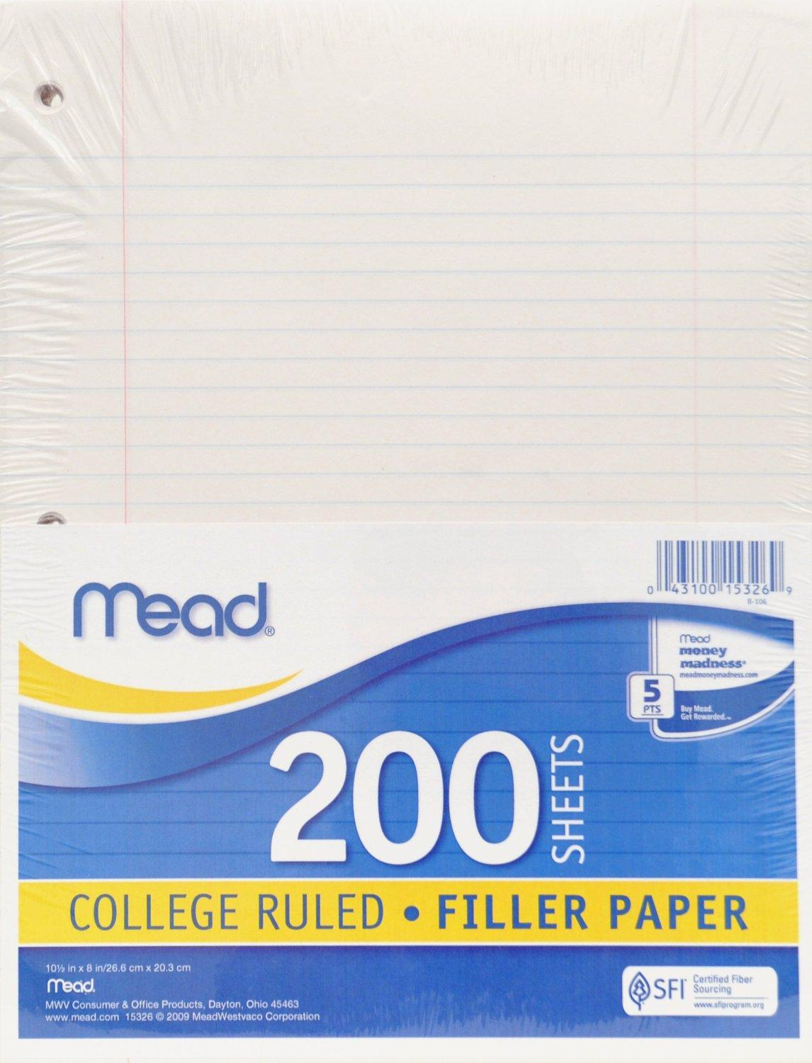 Mead Filler Paper, 200 Count, College Ruled  Print Loose Leaf Paper