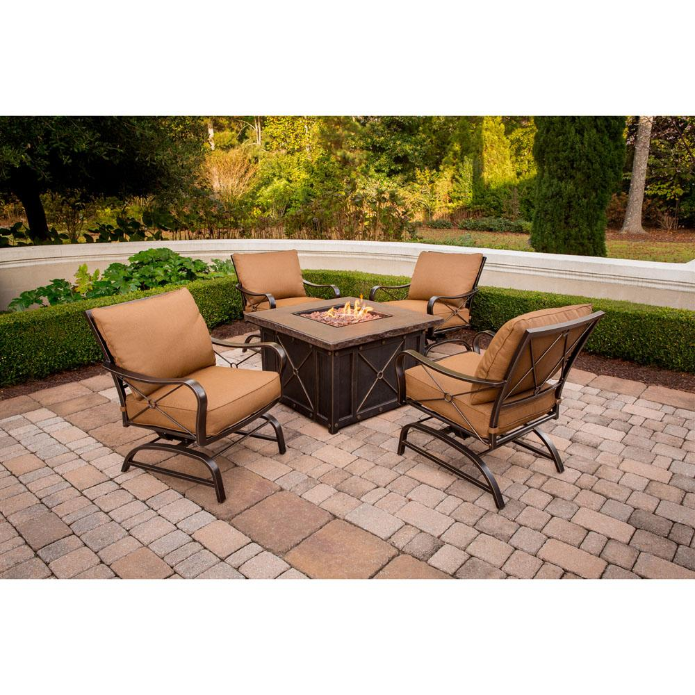 Hanover Summer Night Gas Fire Pit Set  sc 1 st  Amazon.com & Amazon.com: Hanover SUMMRNGHT5PC Summer Nights 5-Piece Patio Fire ...
