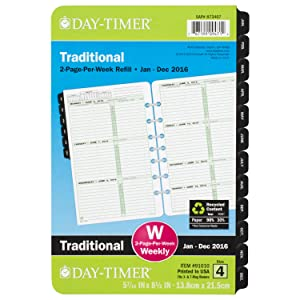 Amazon.com : Day-Timer Weekly Planner Refill 2016, Two Page Per ...