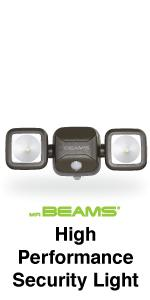mr beams high performance security light, dual head led spotlight, outdoor security light