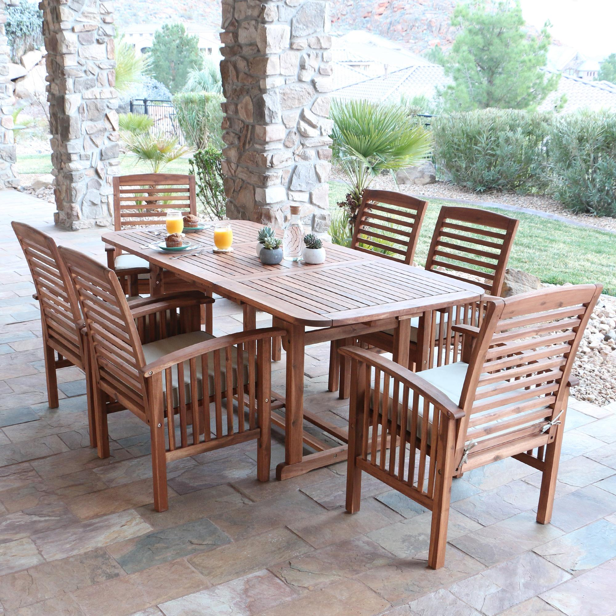 Outdoor Patio Furniture Sale Amazon: Amazon.com: WE Furniture Solid Acacia Wood 7-Piece Patio