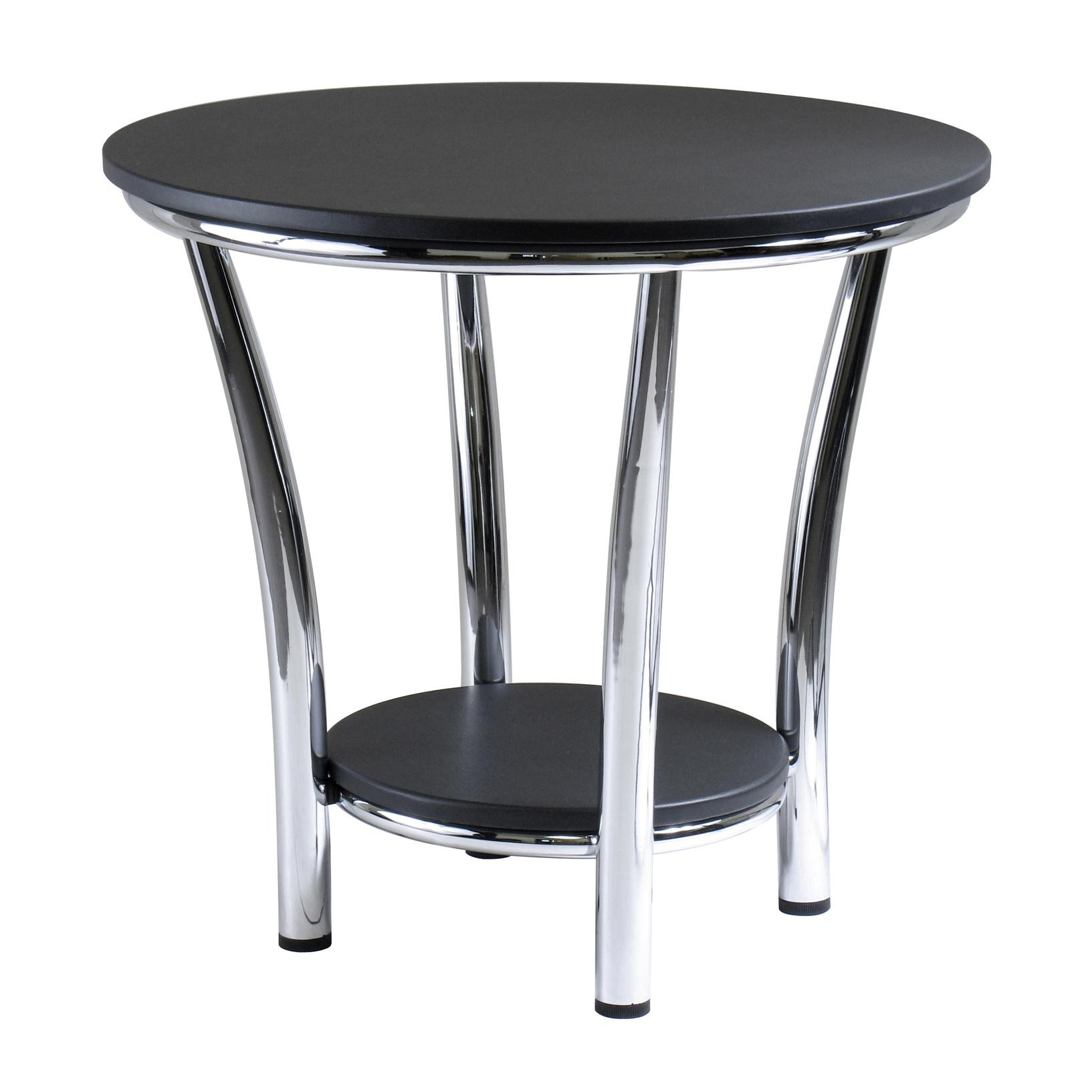 Amazon Winsome Wood Maya Round End Table Black Top Metal