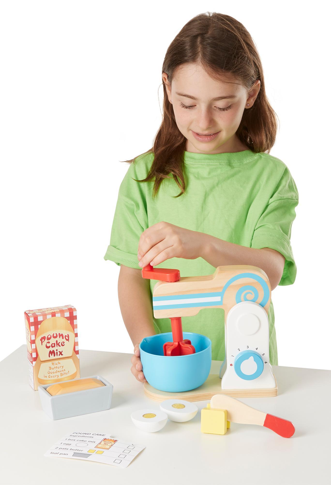 Melissa Doug Wooden Make A Cake Mixer Set 11 Pcs Play Food And Kitchen