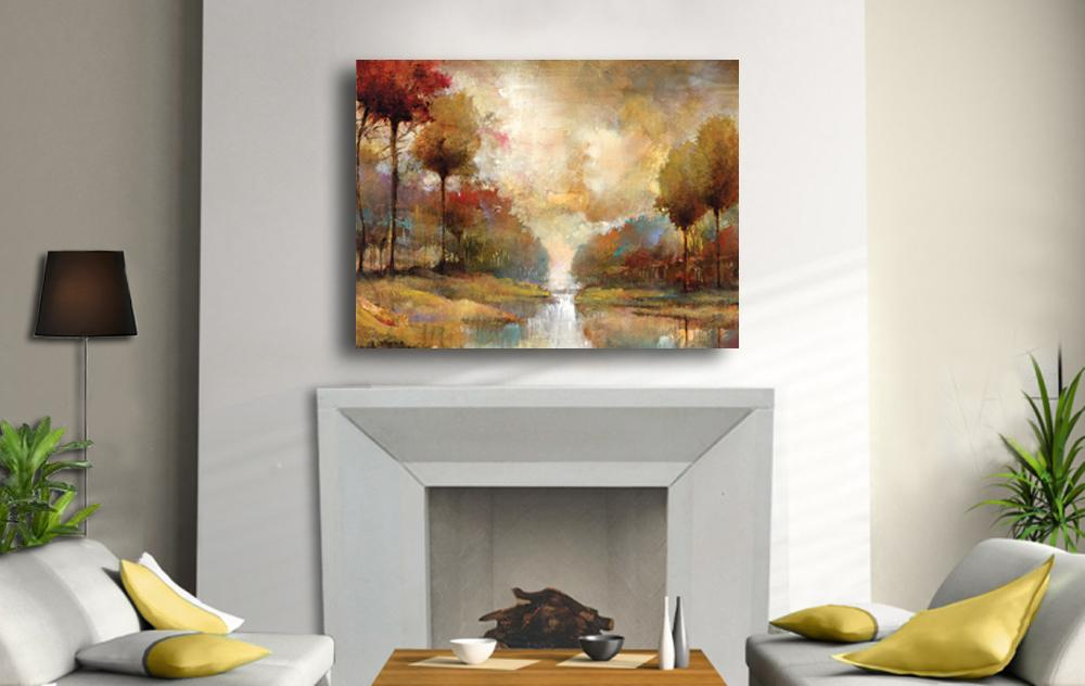 Superbe River;stream;trees;canvas;painting;decor;home;art;