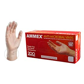 Vinyl, Gloves, AMMEX, Antimicrobial, Powder Free, Industrial, Food Service, Clear, Smooth, 200 Count