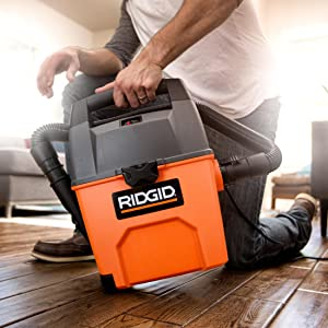 RIDGID VAC, SHOP VAC, SHOP VACUUM, WET DRY VAC, GARAGE VACUUM, CAR CLEANING, INTEGRATED DUST PAN