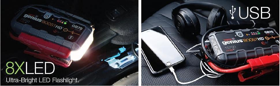 12 volt, fast recharge, emergency strobe, led flashlight, usb recharger