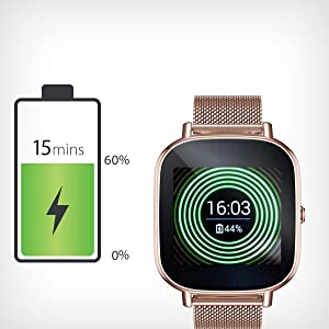 ASUS ZenWatch 2 Rose Gold with Orange Leather Strap 37mm Smart Watch with Quick Charge Battery, 4GB Storage, 1.45-inch AMOLED Gorilla Glass 3 ...