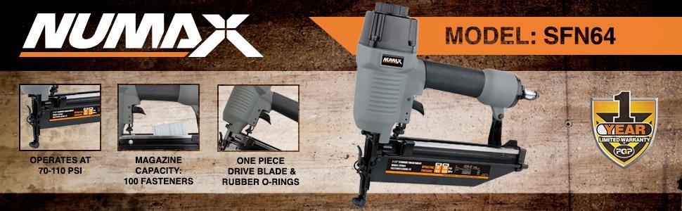Numax, 1/4 inch npt, magazine, straight finish nailer, nail gun, SFN64, warranty