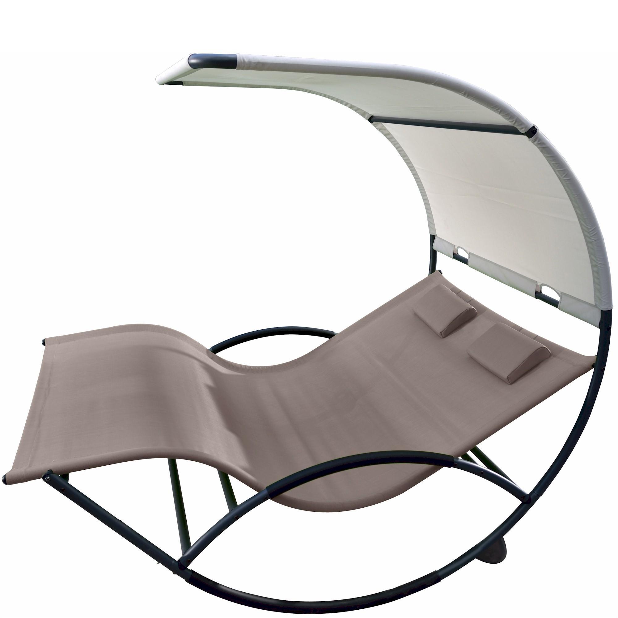 Vivere aluminum double chaise rocker cocoa for Chaise x rocker