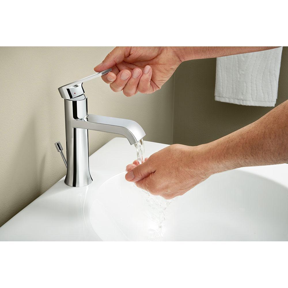 Moen 6702 genta high arc single handle bathroom faucet with drain assembly chrome for Moen one handle bathroom faucet