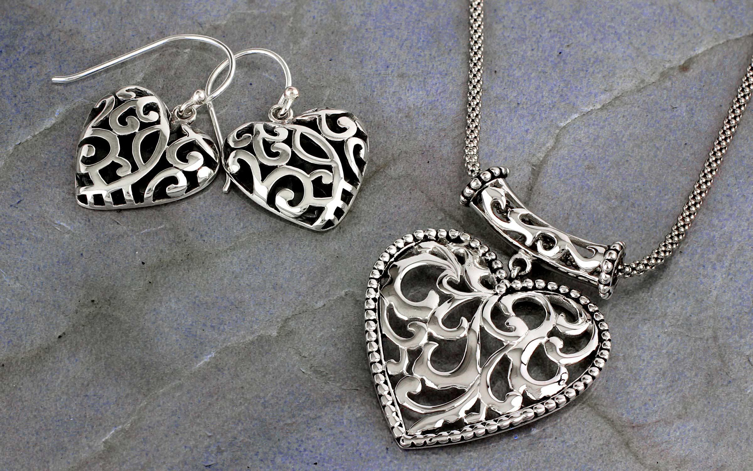 Amazon sterling silver filigree heart drop earrings jewelry bali filigree heart jewelry mozeypictures Image collections
